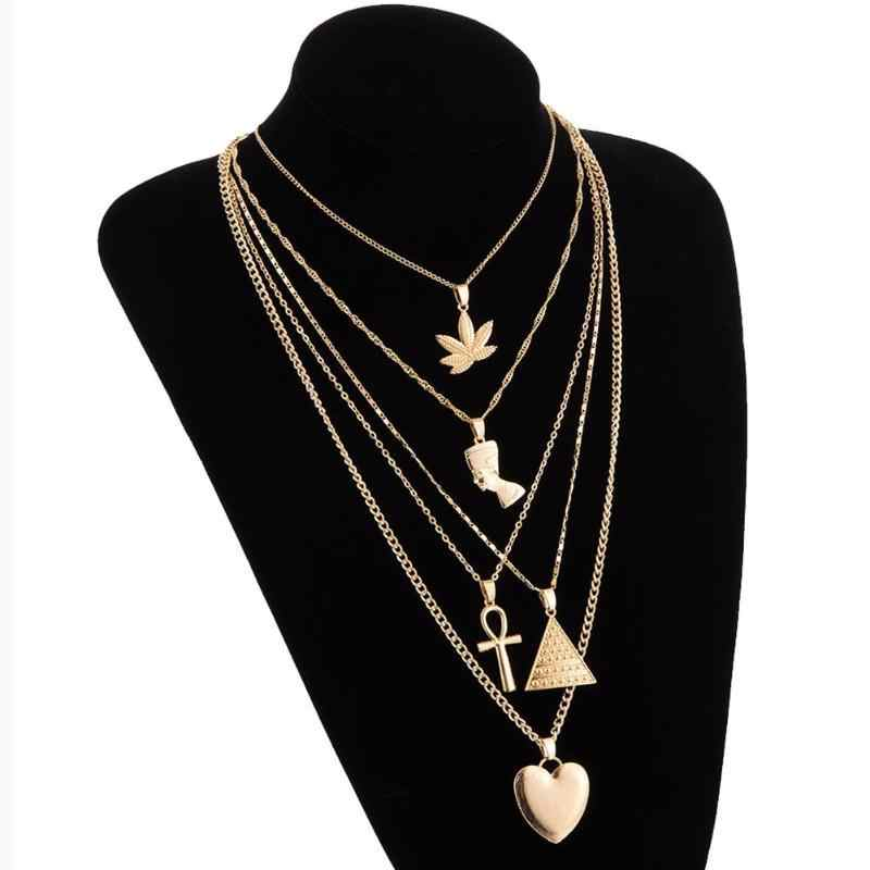 Women Personality Peach Heart Cross Triangle Leaf Portrait Pendant Multilayer Clavicle Chain Women Multilayer Necklace Jewelry
