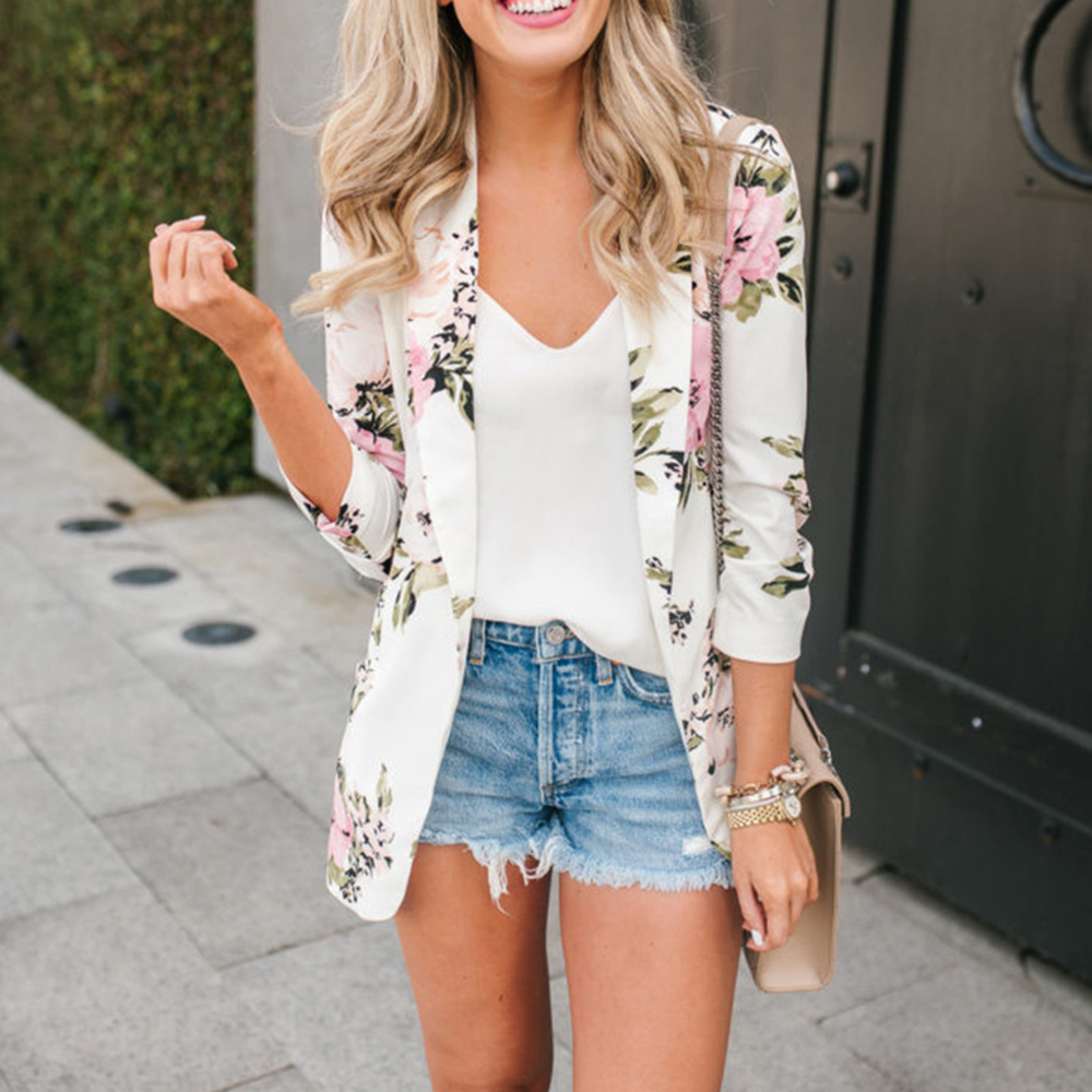 Floral Print Women's Jacket Slim Blazer Casual Notched Collar Long Sleeve Female Coat Autumn Retro Blazers Women Outerwear