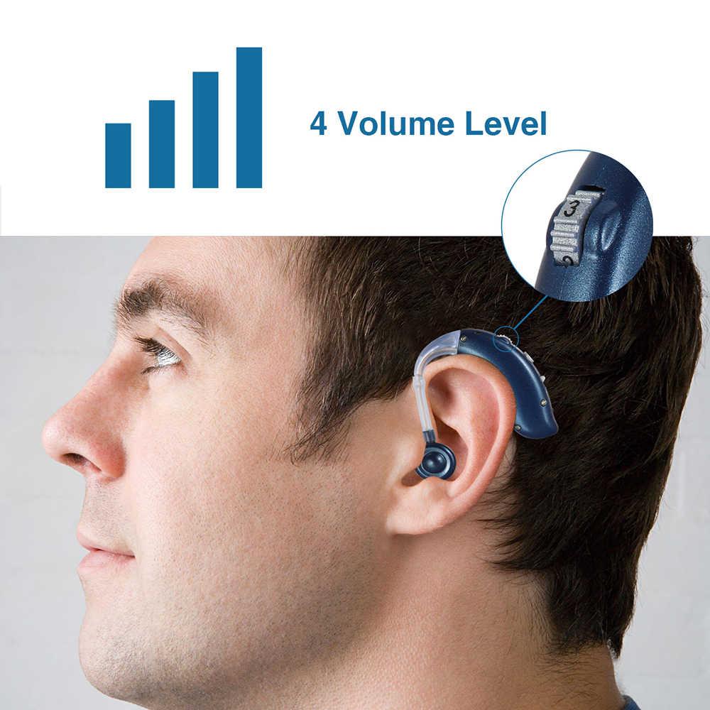 Bluetooth USB Rechargeable Mini Alat Bantu Dengar BTE untuk Orang Tua Portable Sound Amplifier Adjustable Nada Resource Mendengar Mesin