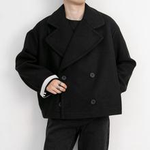 Ciemny Yamamoto jesień zima styl pogrubienie ciepły luźny dwurzędowy płaszcz z wełny mężczyzn tanie tanio IKKB CN (pochodzenie) Pełna REGULAR Wełna mieszanki Skręcić w dół kołnierz