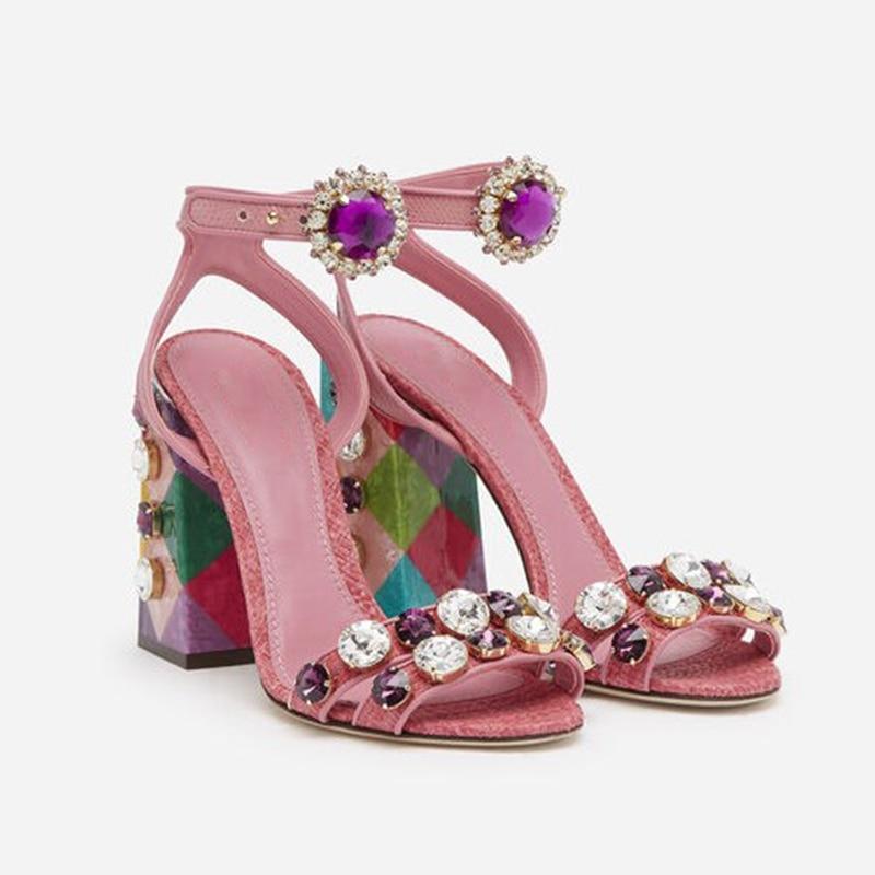 Designer Fashion Summer Sandals Luxury Crystal Embellished Open Toe Ankle strap Sandals Block Heel Shoes Women