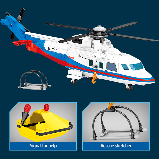 SEMBO 391pcs City Police Helicopter Model Building Blocks Military Emergency Rescue Plane Figures Bricks Toys for Children