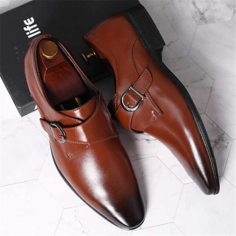 ขนาด 45 46 47 48 ผู้ชายธุรกิจรองเท้า Retro สิทธิบัตรหนัง Oxford รองเท้าสำหรับชาย Elegant หัวเข็มขัดโลหะรองเท้าแต่งงาน