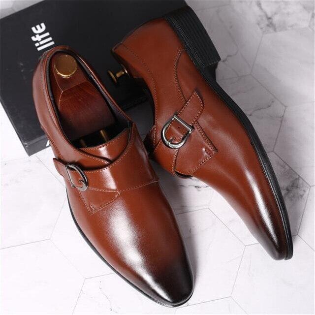 45 46 47 48 erkekler İş elbise ayakkabı Retro Patent deri Oxford ayakkabı erkek şık zarif Metal toka düğün ayakkabı