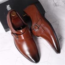 Maat 45 46 47 48 Mannen Business Jurk Schoenen Retro Lakleer Oxford Schoenen Voor Man Stijlvolle Elegante Metalen Gesp bruiloft Schoenen