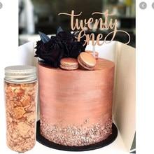 Copos comestibles de oro rosa para decoración para hornear, hoja de decoración de oro rosa para tarta macarrón, Copa artesanal, adorno para pastel, 3g, envío gratis