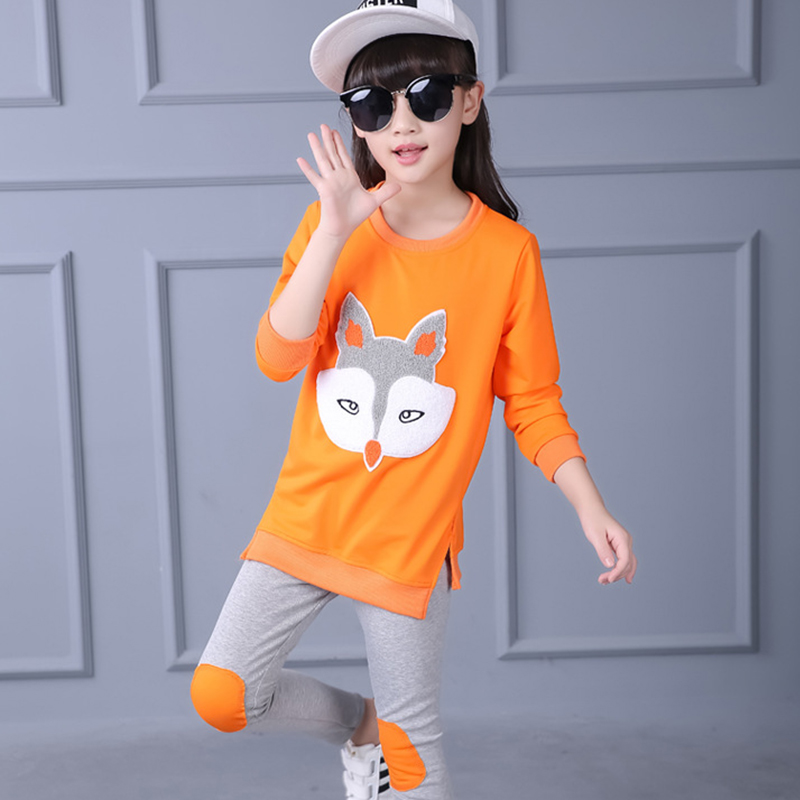 Children Clothing Autumn Cartoon Girls Sets Long Sleeve Tracksuit For 3- 13 Years old Girls Clothes Sport Suit Kids Clothes Sets 5
