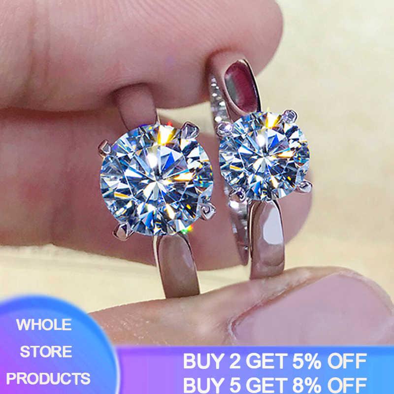 98% de DESCONTO! Ter certificado 2 quilates anel de casamento prata 925 jóias 18k ouro laboratório diamante anéis para mulheres presente de noivado para a noiva