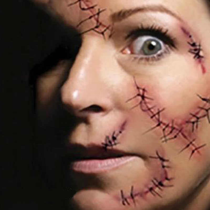 Pegatinas para Halloween, cicatrices de zombis, tatuajes, pasta falsa, costras, maquillaje ensanchado, decoración de Halloween, heridas, sangre atemorizante, pegatinas para heridas