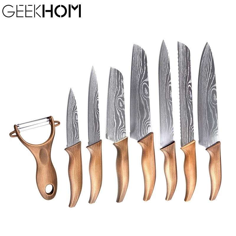 Набор кухонных ножей шеф повара GEEKHOM, японские профессиональные ножи для кухни, китайский кухонный нож, Мясницкий пилинг, универсальные ножи Кухонные ножи    АлиЭкспресс