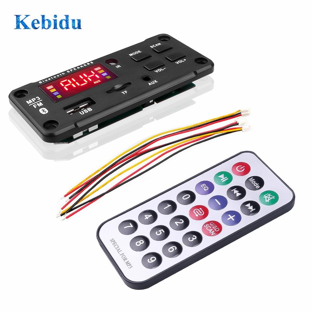 KEBIDU 12V MP3 WMA Wireless Bluetooth 5.0 Decoder Board Car Audio Module USB FM TF Radio AUX input Support Recording 3