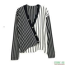 2020 Fall Stripe Pullover Pullovers Women Button Knitting Shirt Casual V-Neck Long Sleeve Loose Thin Sweater(China)