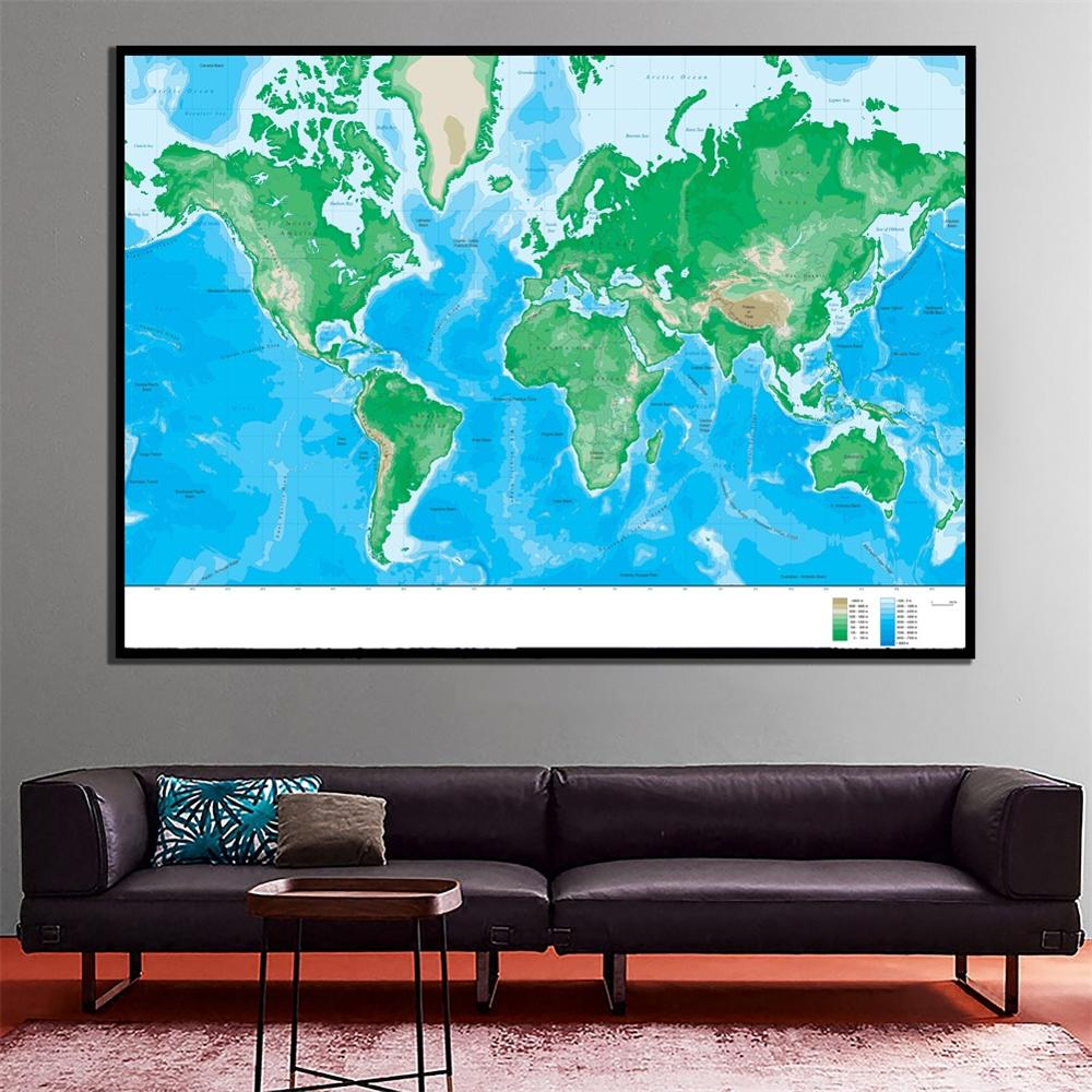 A2 Size World Elevation Map Waterproof Fine Canvas Wall Map HD Spray Painting For Home Decor Crafts