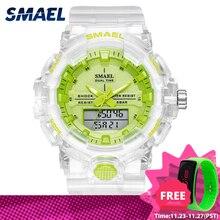 Femme montre Quartz SMAEL sport montres 50M étanche montres dame gelée Starp horloge 8025 reloj mujer dames montre femmes
