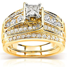 Luxury Female Crystal Zircon Stone Ring Set 18KT Yellow Gold Color Wedding Finger Ring Promise Love Engagement Rings For Women unique style female crystal round leaf finger ring silver rose gold color wedding ring promise love engagement rings for women