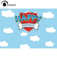 Allenjoy Happy Birthday Party Background Blue Sky Cloud Dog Bone Child Baby Shower Backdrop Boy Event Banner Photocall Photozone