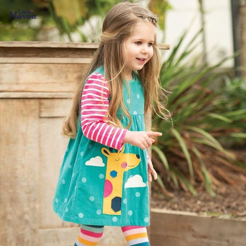 Little maven Dress Girls Sleeveless Dress Animal Giraffe Applique Baby Girls Corduroy Sundresses Kids Clothes Brand Dress 1