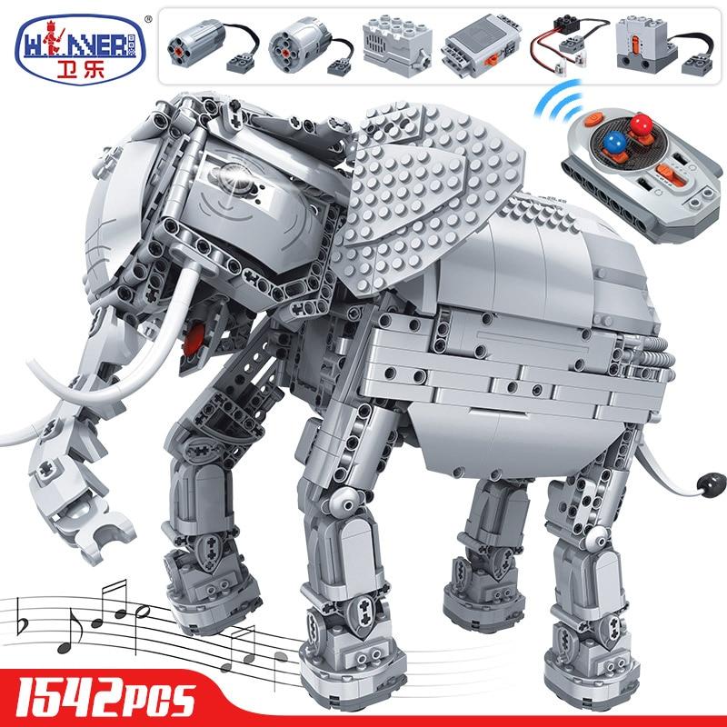 Erbo 1542 Pcs Creative Bouwstenen Fit Lego Technic Rc Afstandsbediening Olifant Dier Elektrische Bricks Speelgoed Voor Kinderen