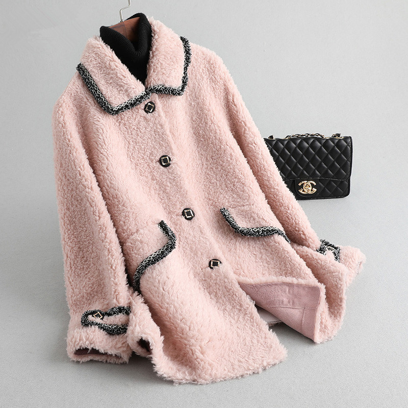 Fur Real Coat Female Sheep Shearling Fur Jacket Winter Coat Women Clothes 2020 Real Wool Coat Pink Korean Jackets MY4560 S