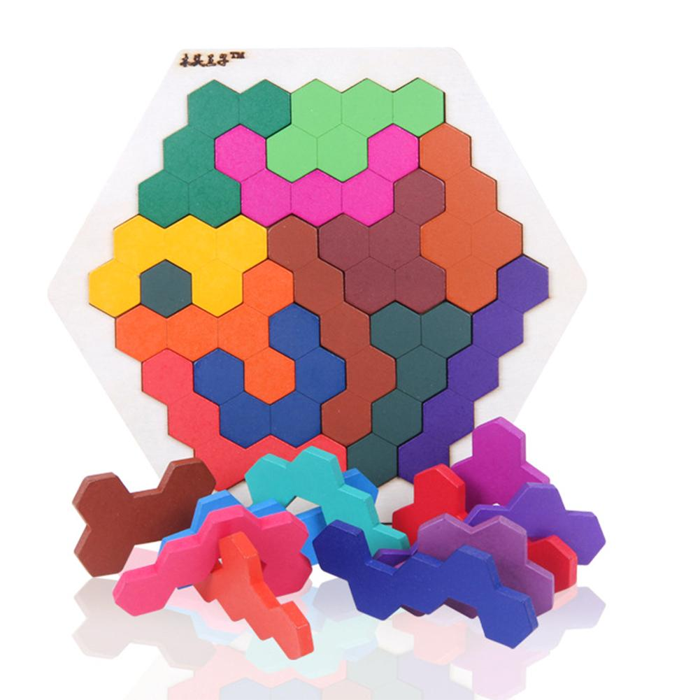 Fun Geometry Tangrams Honeycomb Logic Puzzles Kids Wooden Training Brain IQ Games Toys Children Desktop Educational Toy Gifts