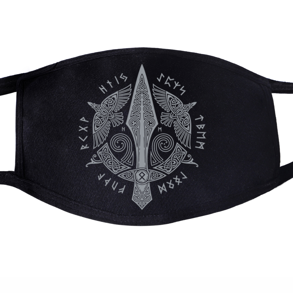 Vikings Son Of Odin Athelstan Valhalla Face Mask Mouth Fabric Anti Dust Unisex Black Dustproof Facial  Cover Masks
