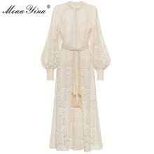 MoaaYina Fashion Designer Runway dress Autumn Winter Women Dress Puff Sleeve Lace Hollow Out Lace-Up Long Dresses