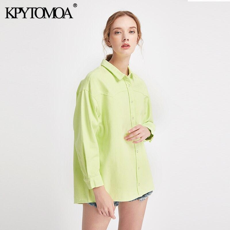 Vintage Stylish Loose Long Tops Women Shirts 2020 Fashion Lapel Collar Long Sleeve Streetwear Ladies Blouses Casual Blusas Mujer