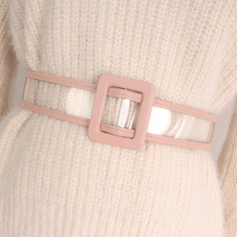 High Fashion 2020 New Design Belts For Women Solid Waistband PVC Transparent Belt Hot Sale All-match Corset Belt Female ZL022