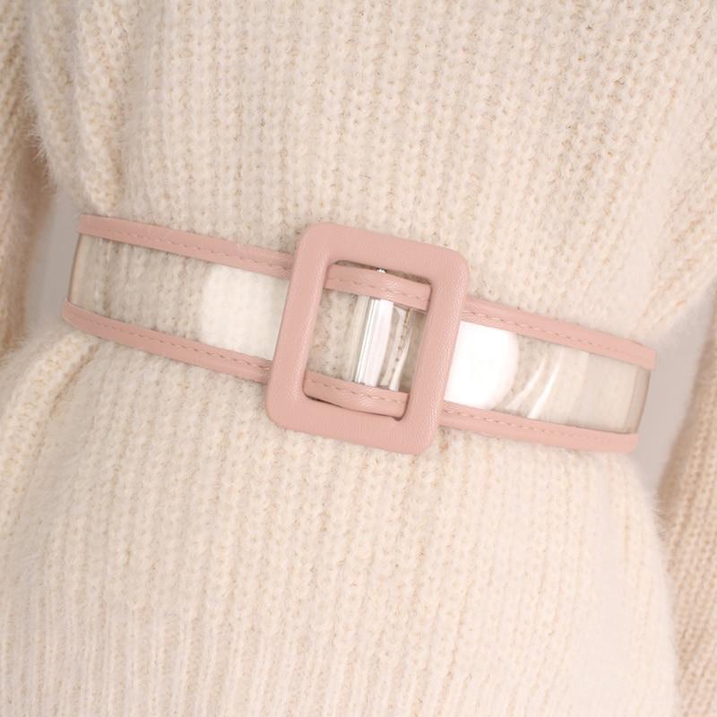 High Fashion 2020 New Design Belts For Women Solid Waistband PVC Transparent Belt Hot Sale All-match Corset Belt Female ZL022