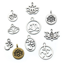 10pcs/lot Assorted  Tibetan Silver Hollow Out Lotus Buddha Round Tag Charm Pendant for DIY Handmade Bracelet Jewelry Making