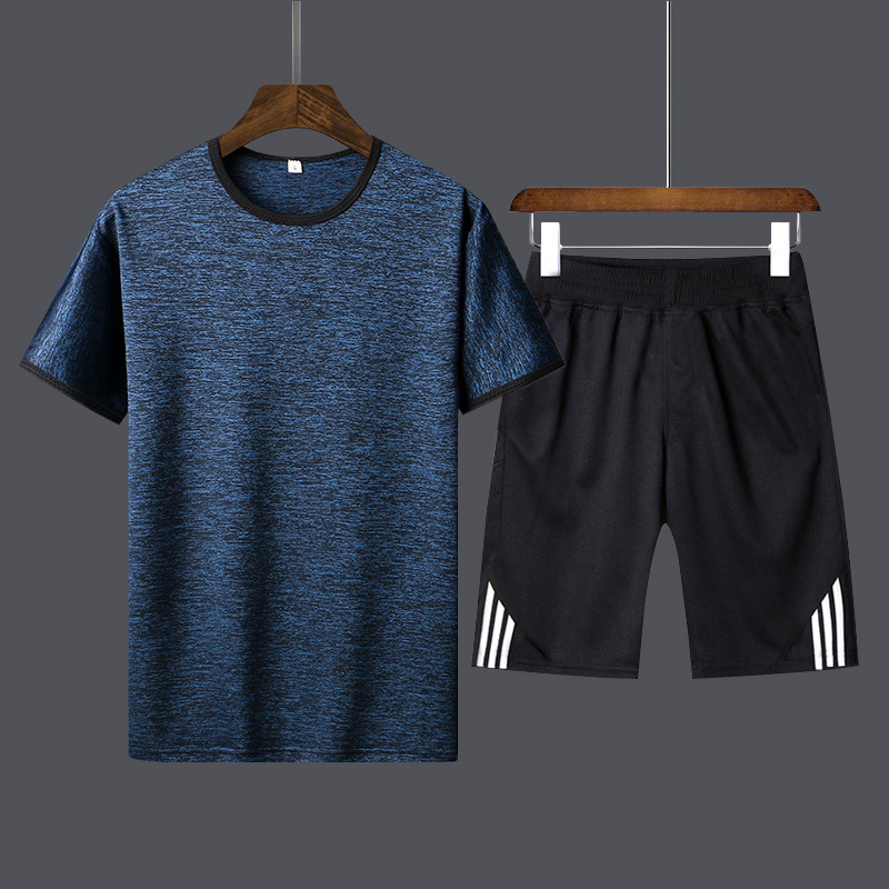2019 New Style Summer MEN'S Casual Suit Shorts Short Sleeve Youth Popularity Crew Neck Sports Set Of Body Building Morning Run-