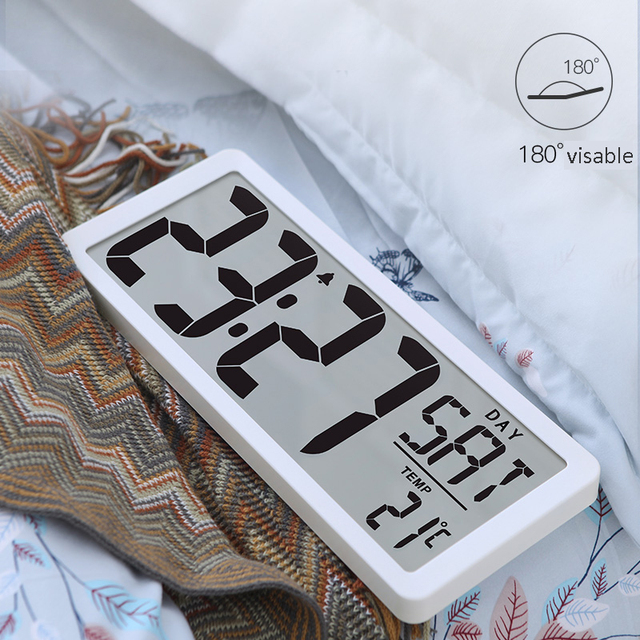 """TXL اضافية كبيرة الرؤية الرقمية ساعة حائط جامبو ساعة تنبيه 13.8 """"شاشة الكريستال السائل إنذار التقويم داخلي درجة الحرارة البطارية بالطاقة"""
