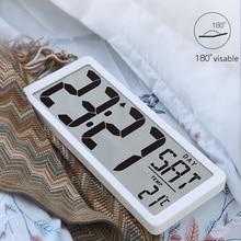 """TXL Reloj de pared Digital de visión Extra amplia, despertador Jumbo de 13,8 """", alarma con pantalla LCD, calendario, funciona con batería y temperatura interior"""