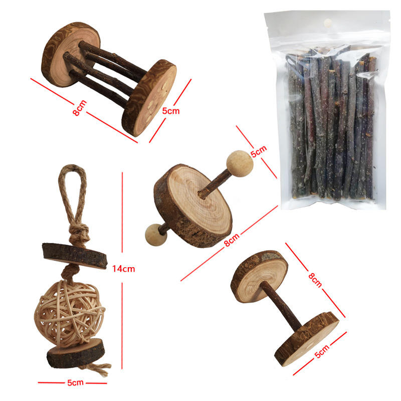 Wooden Teeth Grinding Toys For  Pet Hamster Rabbit Chinchilla Apple Tree Branch  Dumbbell Hanging Cage Toy Small Animal Supplies