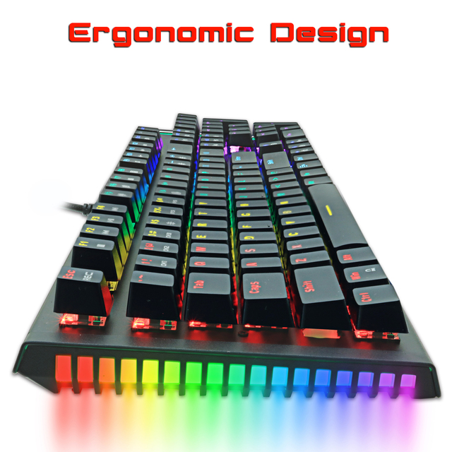 Mechanical Keyboard Wired Gaming Keyboard RGB Mix Backlit 87 104 Anti-ghosting Blue Red Switch For Game Laptop PC Russian US 6