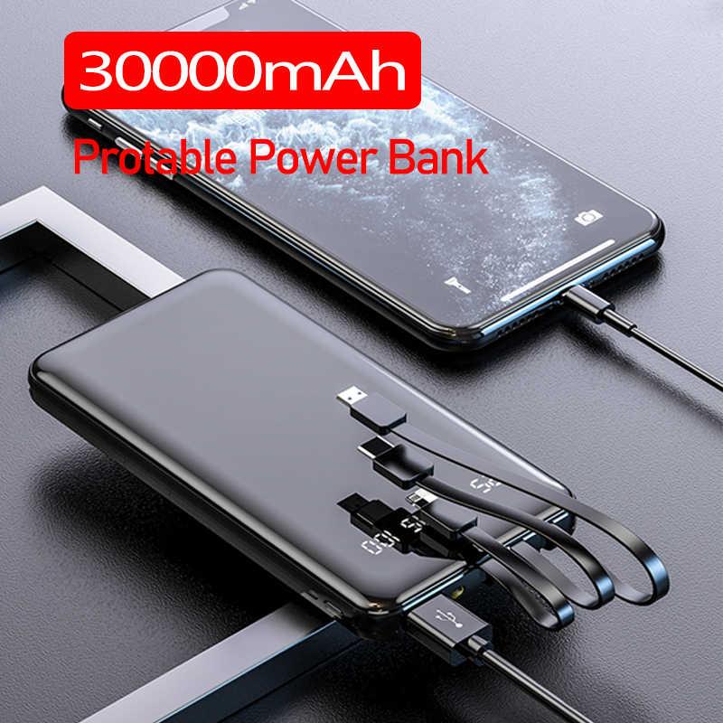 Batería Externa de carga rápida con 3 Cables y batería externa integrada de 30000mah para IPhone, Samsung y Xiaomi