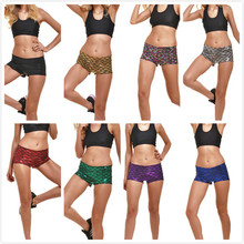 Sexy Shorts Print Fish Scales Women Shorts Skinny European And American Style Elastic Waist Summer Short Multicolor girls fish and star print shorts