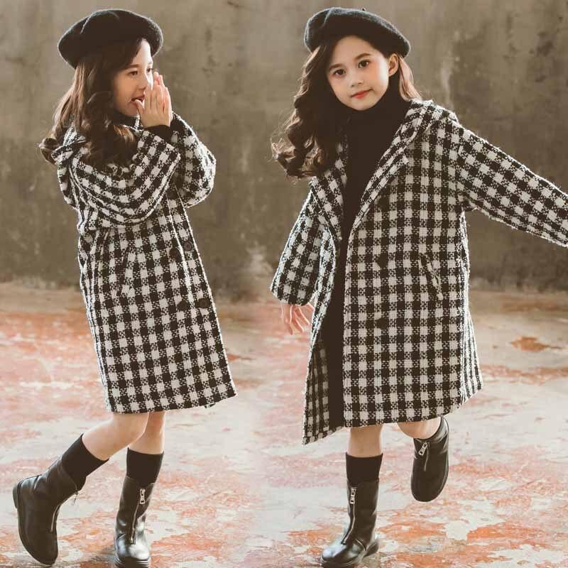 Noir rouge Plaid longue Trench manteaux enfants hauts vêtements nouvelle mode 2019 adolescentes automne hiver vestes vêtements enfants manteau