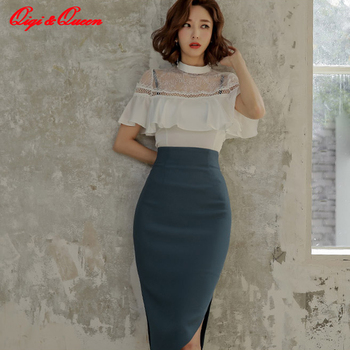 Qiqi&queen OL 2 Pieces Suits Women 2020 Spring Sexy Ruffles Hollow Out Crop Top & Split Sheath Bodycon Pencil Skirt Office Sets