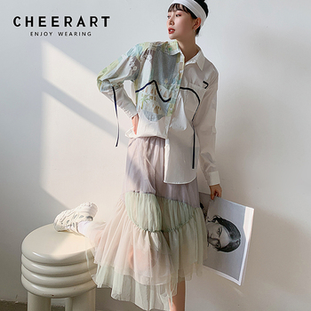 CHEERART Autumn Aesthetic Shirt Long Sleeve Top Women Blouse Cotton Print Button Up Collar Designer Shirt Fashion 2020 1