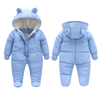winter kids Newborn baby clothes warm Hooded cotton Long sleeve Thicken snowsuits baby girl boy Romper And gloves coat jackets winter baby boy girl clothes long sleeve casual cotton clothing solid hooded kids boys girls clothes comfortable coat j1
