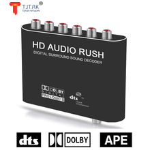 Digital 5.1 Audio Decoder Dolby Dts/Ac-3 Optical To 5.1-Channel RCA Analog Converter Sound Audio Adapter Amplifier Converter