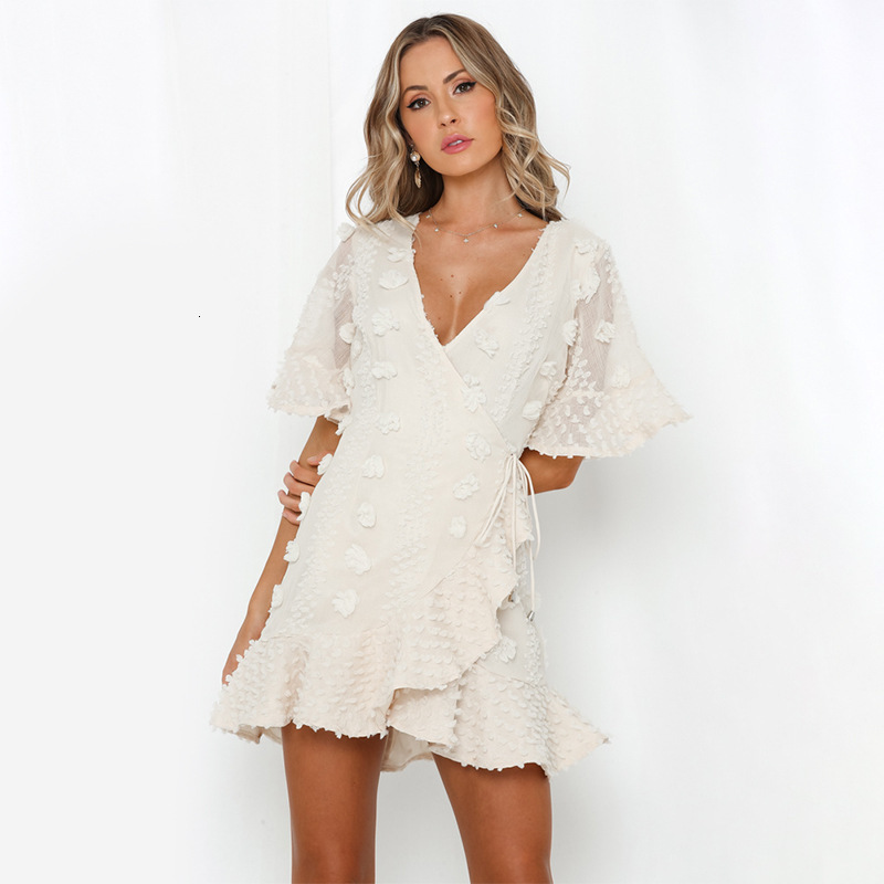 BGW 2020 sexy v neck half sleeves a line mini cocktail dresses with sashes cheap women cocktail party dress gown