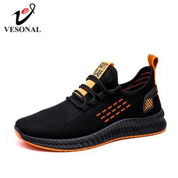 VESONAL 2020 nowy Flyknit trampki męskie buty Casual wiosenna lato oddychające wygodne buty męskie obuwie spacerowe tanie i dobre opinie Przypadkowi buty RUBBER Lace-up Podstawowe Wiosna jesień Stałe Dla dorosłych Wytrzymałe Pot-chłonnym Antyzapachowej