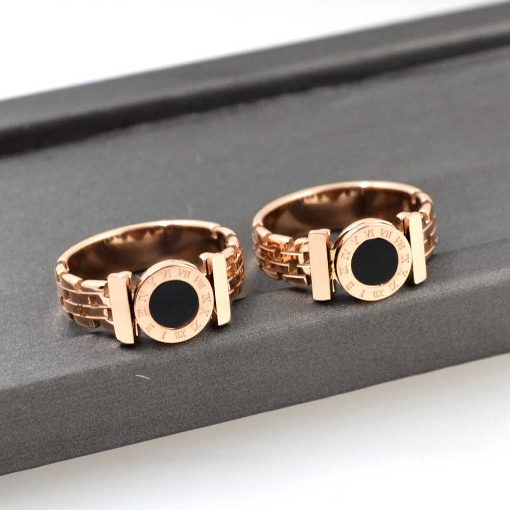KNOCK Hot  Woman Rings Stainless Steel Black Roman Numerals  Rose Gold Color Hollow Out Rings Fashion Jewelry 1
