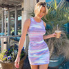 Sweetown Tie Dye Print Knitted Beach Strap Dresses Women Y2K Club Outfits Off Shoulder Slim Sexy Mini Bodycon Dress Summer 1
