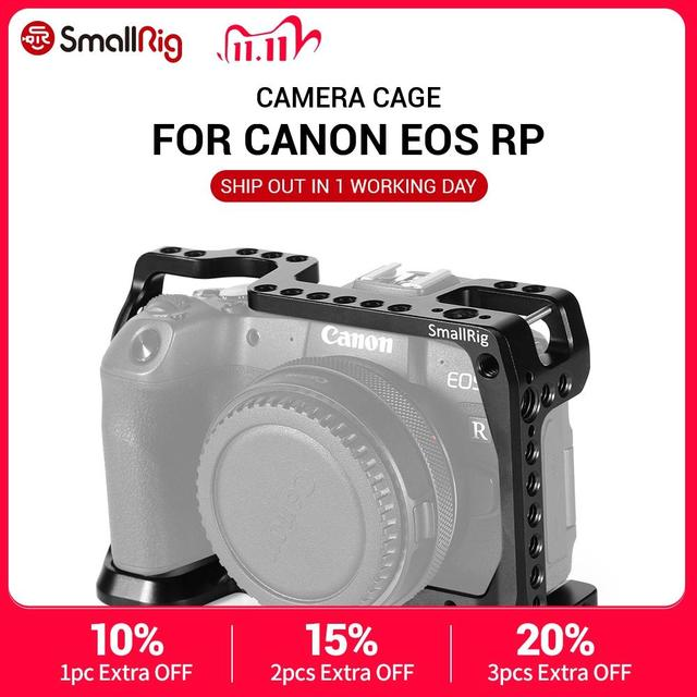Smallrig dslr câmera gaiola para canon eos rp característica com 1/4 3/8 furos de rosca para braço mágico microfone acessório ccc2332