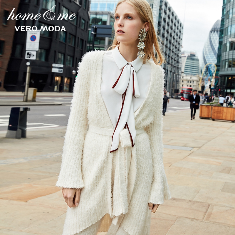 Vero Moda New Arrivals Flared Sleeves Mid-length Lace Up Knit Cardigan  | 318313523