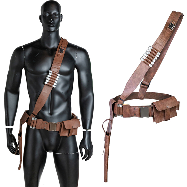 Coslive The Mandalorian PU Leather Belt  With Bullets Accessories Gun Holster Cosplay Costume Props 1:1 Scale Halloween Adults 1