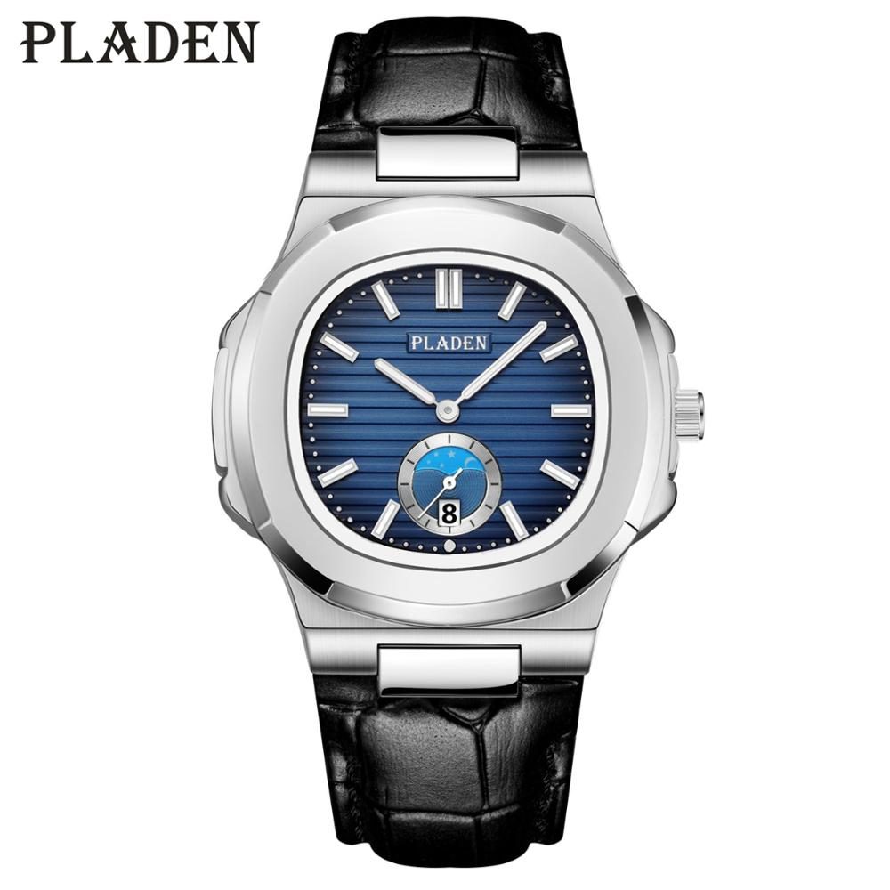 PLADEN Men Watch Fashion Leather Quartz Men sWatches Stainless Steel Casual Male Wrist Watches Gradient Blue Dial Sport Clock